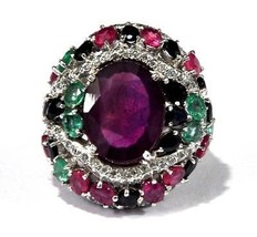925 Sterling Silver Natural Ruby Sapphire & Emerald Ring For Man Size 6 ... - $207.90
