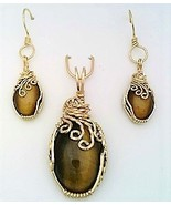 Tiger Eye Gold Wire Wrap Pendant Earrings Set 5 - $55.00