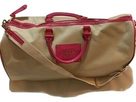 Victoria's Secret Womens Large Duffel Bag Beige Pink Adjustable Strap Zi... - $74.95