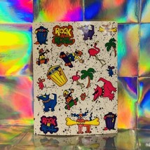 Vintage Lisa Frank Rare Non Perforated Sticker Sheet Punk Rock N Roll S127