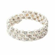 Inspired Silver Three Row Pearl & CZ Cuff Adjustable Bangle Bracelet Wit... - $393,54 MXN