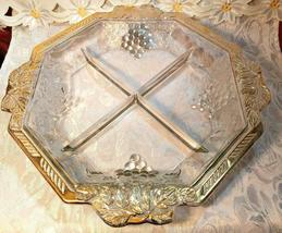 VINTAGE 4 SECTION DIVIDED OCTAGON GLASS BOWL - GRAPE AND LEAVES DESIGN GOLD TRIM image 7