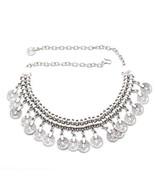 Bohemian Vintage Colar Silver Coin Choker Bib Necklace Jhumka Earrings T... - $18.00