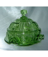 Elegant Vintage IMPERIAL GLASS Green Covered Candy Dish Butter Cheese Bowl - $34.20
