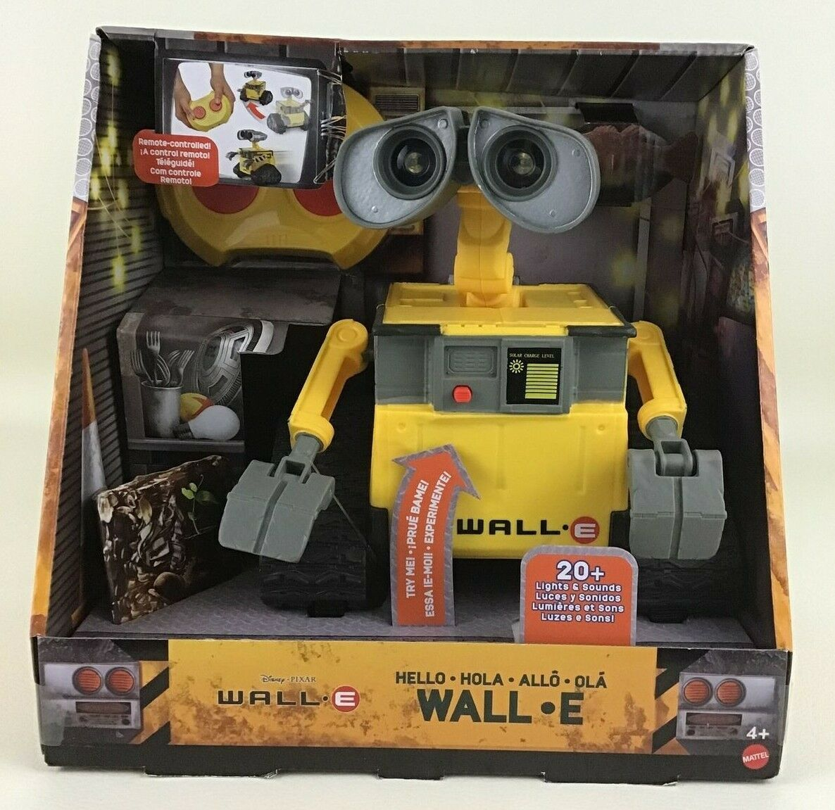 Primary image for Hello Wall E RC Remote Control Toy Light up Sounds Mattel Disney Pixar 2019 New