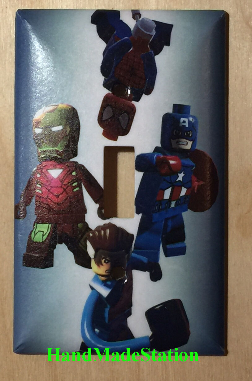 Lego Spiderman ironman captain america Light Switch Power Outlet Cover Plate