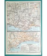 PORTUGAL Funchal City Town Plan & Environs Madeira Island - 1911 BAEDEKE... - $12.60