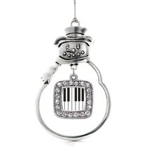 Inspired Silver Piano Keys Classic Snowman Holiday Decoration Christmas Tree Orn - $14.69