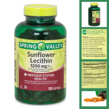 Spring Valley Sunflower Lecithin Softgels 1200 mg 120 Ct Nerve Health and Brain - $16.28