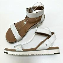 Ugg White Leather Ankle Strap Flatform Platform Sandals Braided Laddie Womens 10 - $52.55