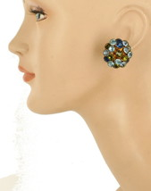 Vintage Dome Sputnick Lite Blue Drk Blue Green Rhinestone Clip Earrings ... - $64.79