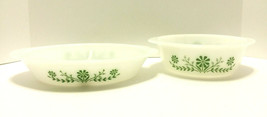 Set of 2 Glasbake Casserole Bowls Milk Glass Dishes White Green Daisy Fl... - $16.55