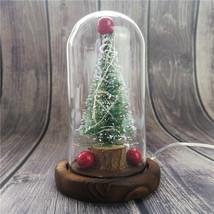 Christmas  Tree Decor Glass Dome Bell Jar with LED Light - $19.30