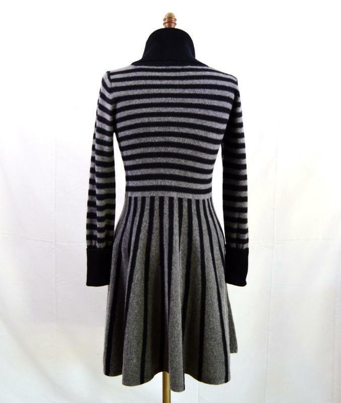 NWOT BCBG MAXAZRIA STRIPED COWL NECK WOOL CASHMERE SWEATER DRESS S