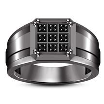 Black Diamond Mens Anniversary Ring 14k Black Gold Finish 925 Sterling S... - £69.08 GBP