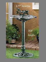 verdigris green flower PLASTIC Bird Bath Birdbath feeder outdoor Garden ... - €26,71 EUR