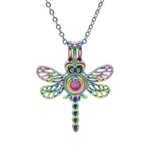 1pcs Colorful Insect Dragonfly Pearl Cages Pendant Essential Oil Diffuser Jewelr - $9.78