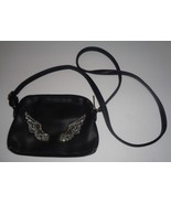 Gallantry Black Faux Leather Cross Body Purse Pouch NWT Silver Beaded Wings - $12.99