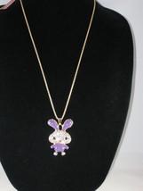 NEW Betsey Johnson Purple Rhinestone Bunny Pendant on lo... - $24.50
