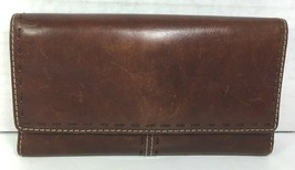 Fossil Brown Leather Clutch Wallet- Distressed - $26.18