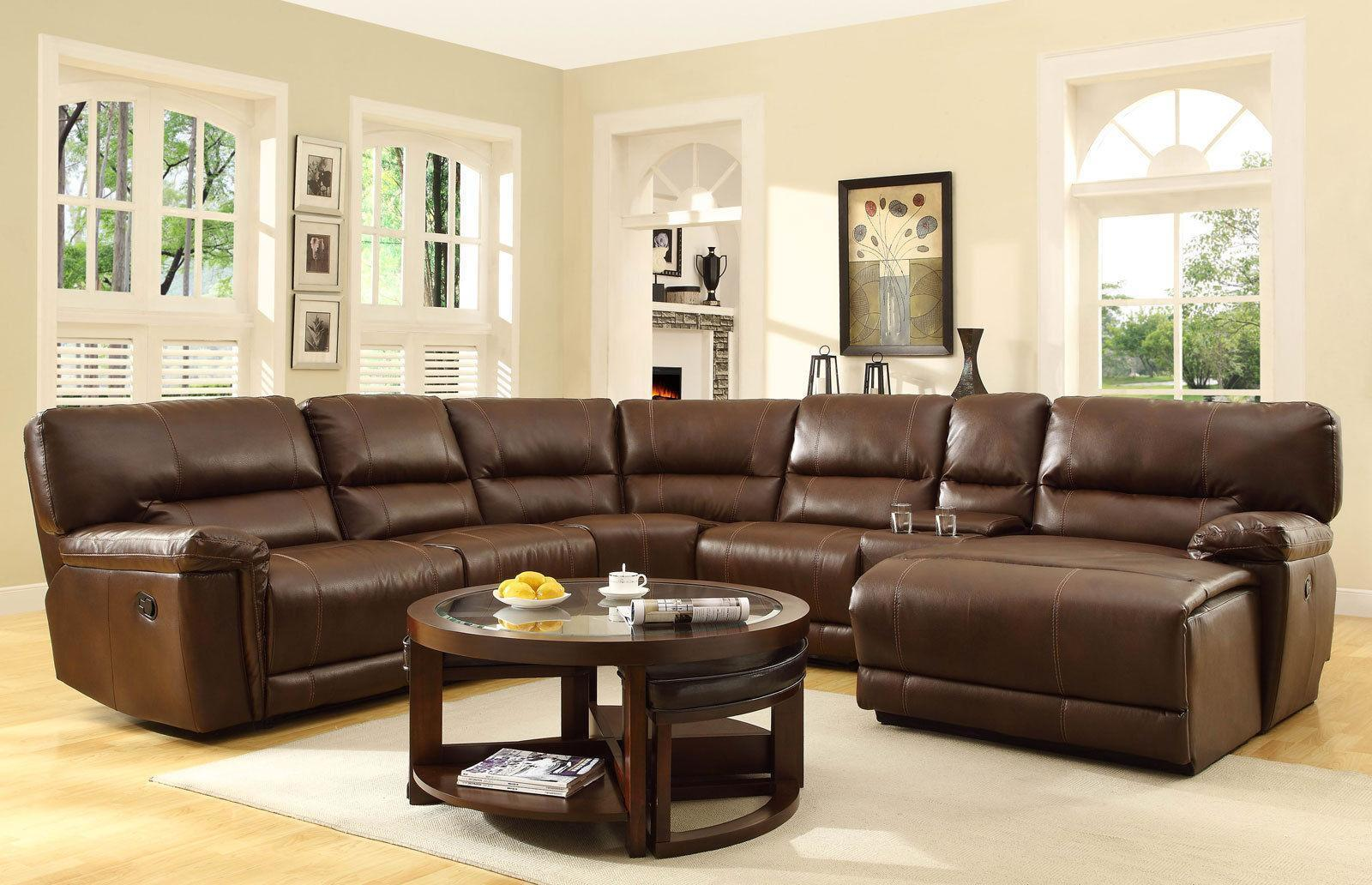 Galway Living Room Brown Bonded Leather Recliner Sofa