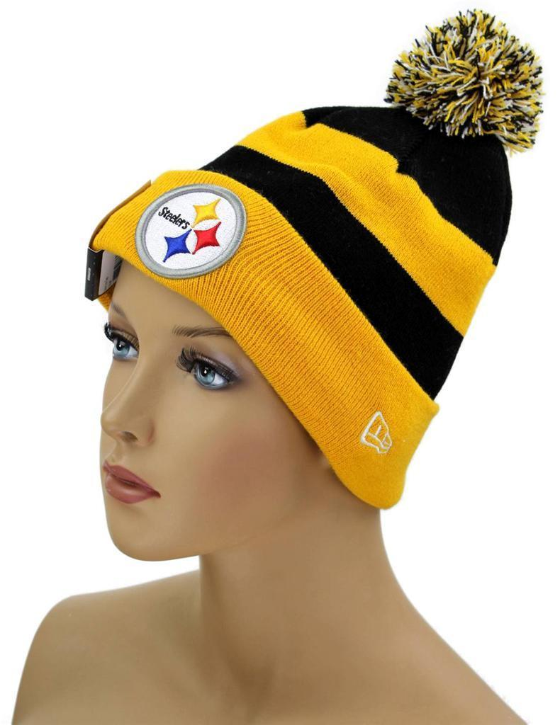 NEW NWT NEW ERA NFL STRIPED HAT CAP BEANIE PITTSBURGH STEELERS YELLOW ONE SIZE