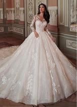 Fantastic Tulle & Lace Scoop Neckline Ball Gown Wedding Dress - $485.00