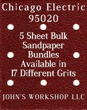 Chicago Electric 95020 - 1/4 Sheet - 17 Grits - No-Slip - 5 Sandpaper Bulk Bdls - $7.14