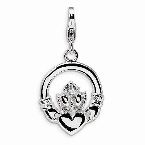 Primary image for Sterling Silver Cz Claddagh W/lobster Clasp Charm, Best Quality Free Gift Box