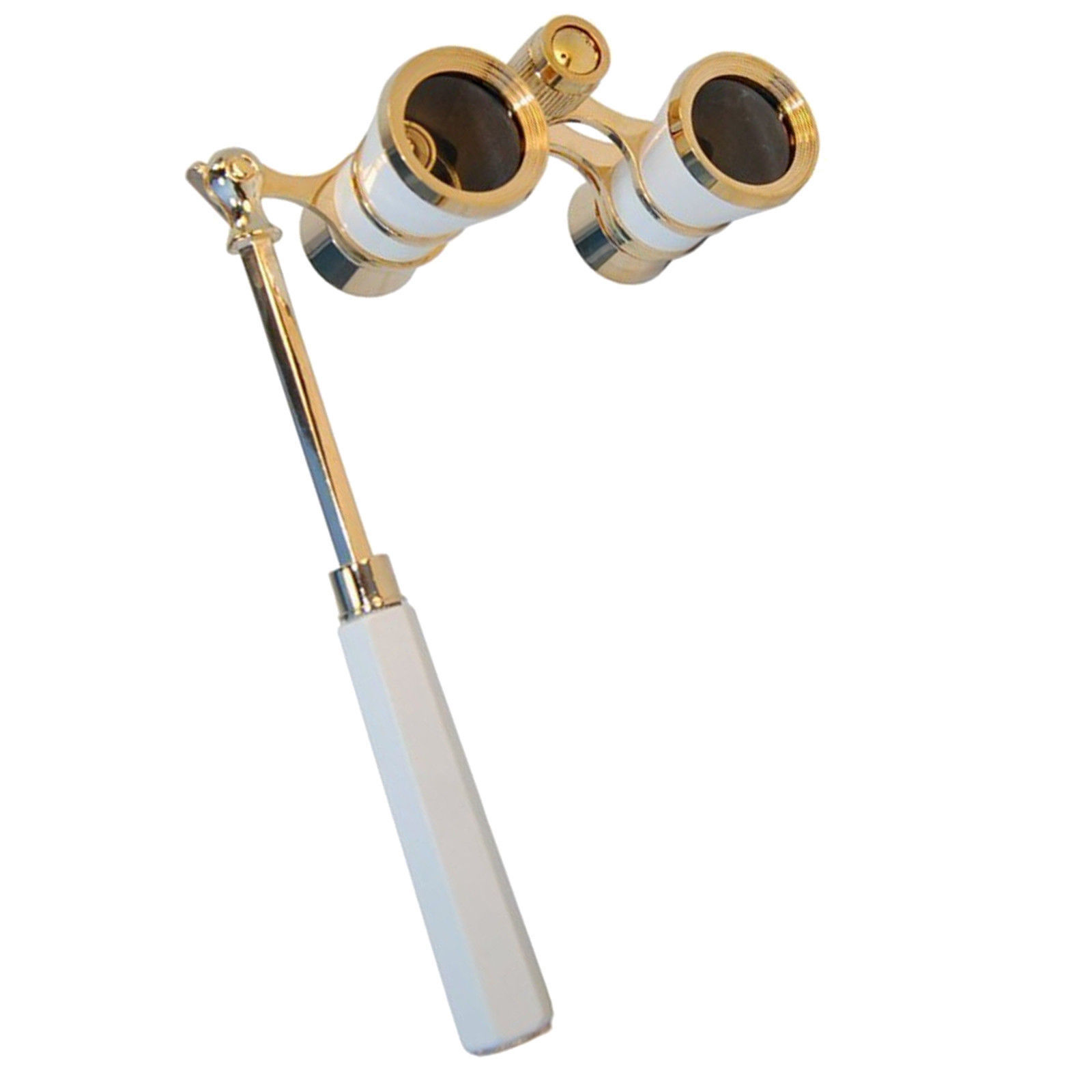 Primary image for HQRP Opera Glasses White-Pearl with Gold Trim with Built-In Extendable Handle