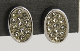 60s 70s VINTAGE Jewelry TRIFARI PAVE RHINESTONE SILVER METAL CLIP EARRINGS - $10.00
