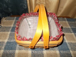 1993 Longaberger Bayberry Green Basket Combo Plaid Liner, Protector,  EUC - $24.75