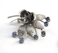Retro Brooch Dimensional Rose Blue Rhinestones 1950s Silver Plated Vinta... - $20.00