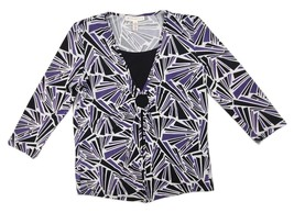 JM Collection Petite Women's Geometric Print 3/4 Sleeve Stretchy Blouse Size S - $12.59