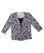 JM Collection Petite Women's Geometric Print 3/4 Sleeve Stretchy Blouse ... - $11.64