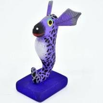 Handmade Alebrijes Oaxacan Painted Wood Folk Art Zebra Striped Seahorse Figurine image 2