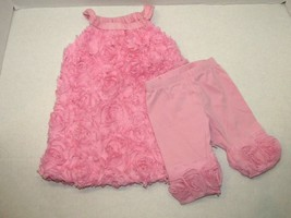Childrens Place Pink Poofy Tank Dress W/ Matching Disney Pants 6-9 Months Rose - $10.89