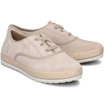 Timberland Womens Eivissa Sea Oxford Light Beige Leather Shoes Flats Lac... - $53.30+