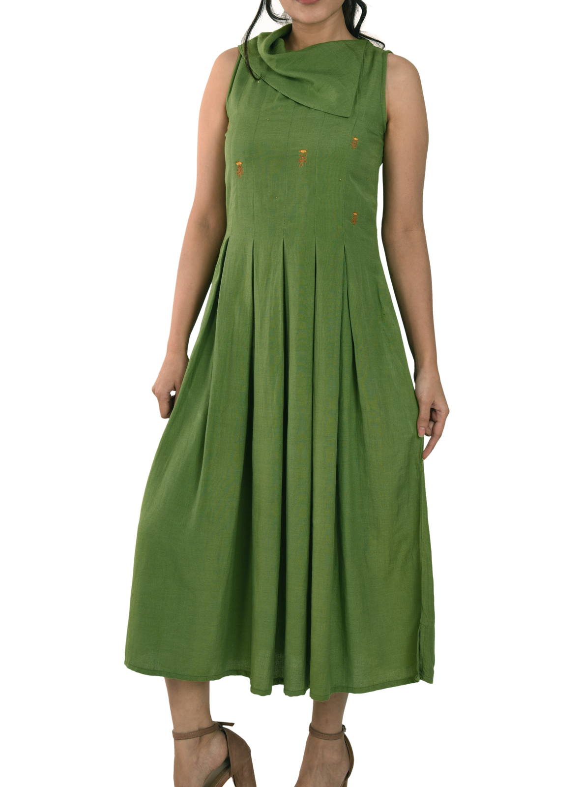 Primary image for Custom Made Olive Green Linen Split Collar Box Pleated Maxi Dress