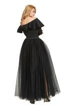 Black Pink White Slit Tulle Skirt High Waisted Full Length Slit Tulle Maxi Skirt image 5