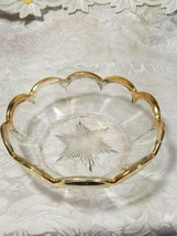 Heisey Glass Colonial Panel Pattern Round Bowl Dish Clear Gold Edge Star Diamond image 2