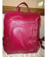 Wilsons Leather Pelle Studio Cranberry Leather Backpack Handbag Tote Bag - $34.99