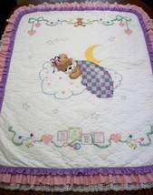"Handcrafted Quilted XStitched ""LULLABYE"" Baby Quilt Crib Blanket add Bab... - $169.99"