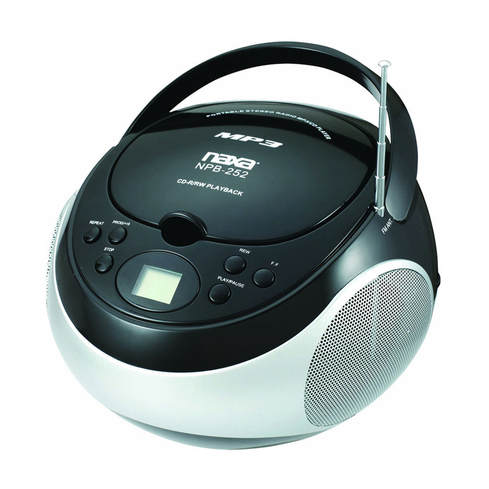 Naxa Portable CD Player with AM/FM Stereo Radio- Black
