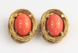 ESTATE VINTAGE Jewelry HIGH END FX CORAL CABOCHON FRENCH CLIP EARRINGS - $30.00