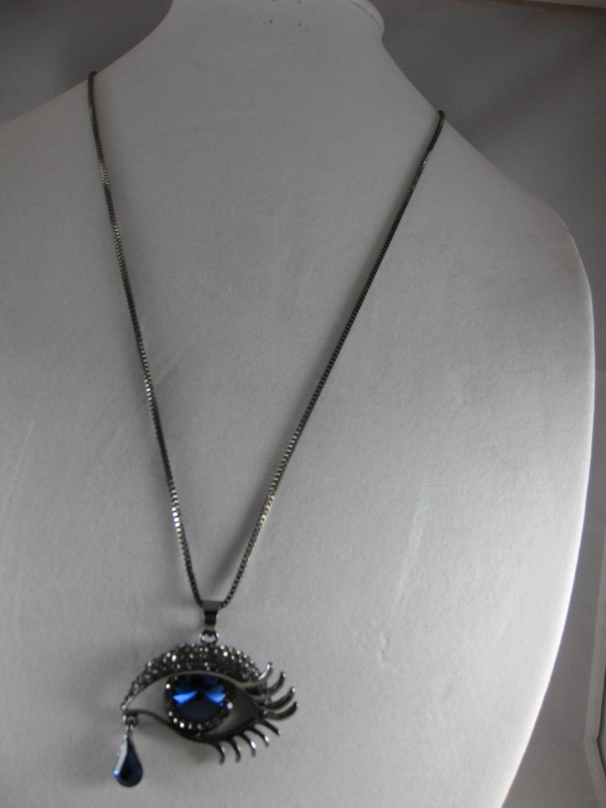 NEW Betsey Johnson Rhinestone Blue eye  with tear Pendant on Long Chain