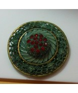 Vintage Teal Color Plastic & Red Rhinestone Belt Buckle or Scarf Clip - $26.72
