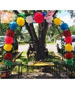Paper Tissue Flowers Pom Poms Party Photo Wall Fiesta Birthday Flower Me... - $85.00