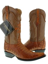 Mens Cognac Western Boots Crocodile Hornback Skin Real Leather Cowboy 3X... - £180.97 GBP