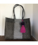 Dark Colors with pom Tassel beach tote plastic shopping bag handwoven Wi... - $85.00